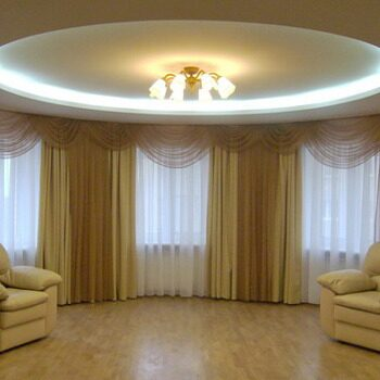 Дизайн эркерных окон шторы